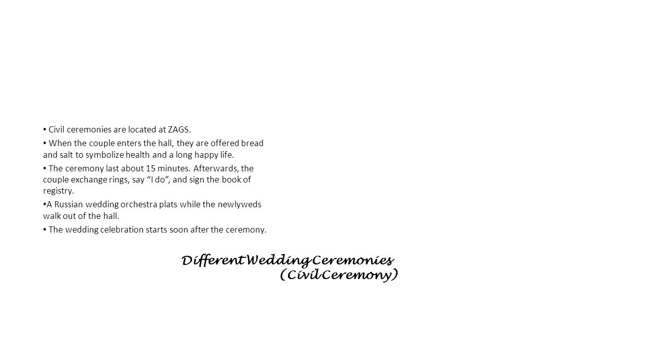 Different Wedding Ceremonies (Civil Ceremony)