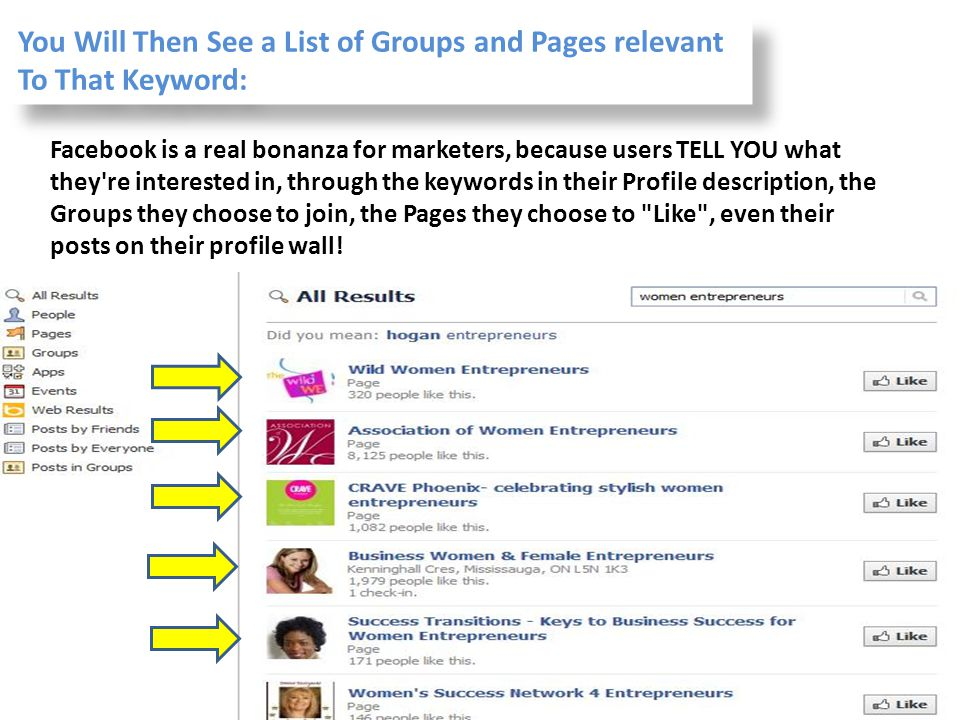You Will Then See a List of Groups and Pages relevant To That Keyword: