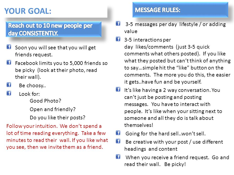 YOUR GOAL: MESSAGE RULES:
