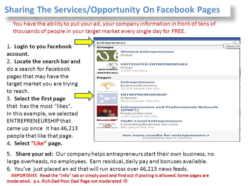 Sharing The Services/Opportunity On Facebook Pages
