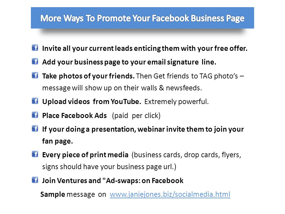 More Ways To Promote Your Facebook Business Page