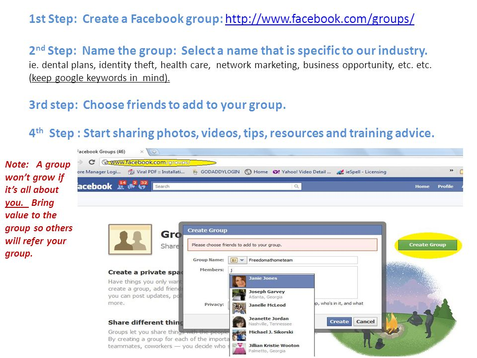 1st Step: Create a Facebook group: http://www.facebook.com/groups/