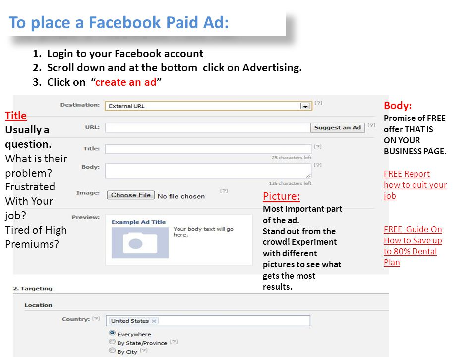 To place a Facebook Paid Ad: