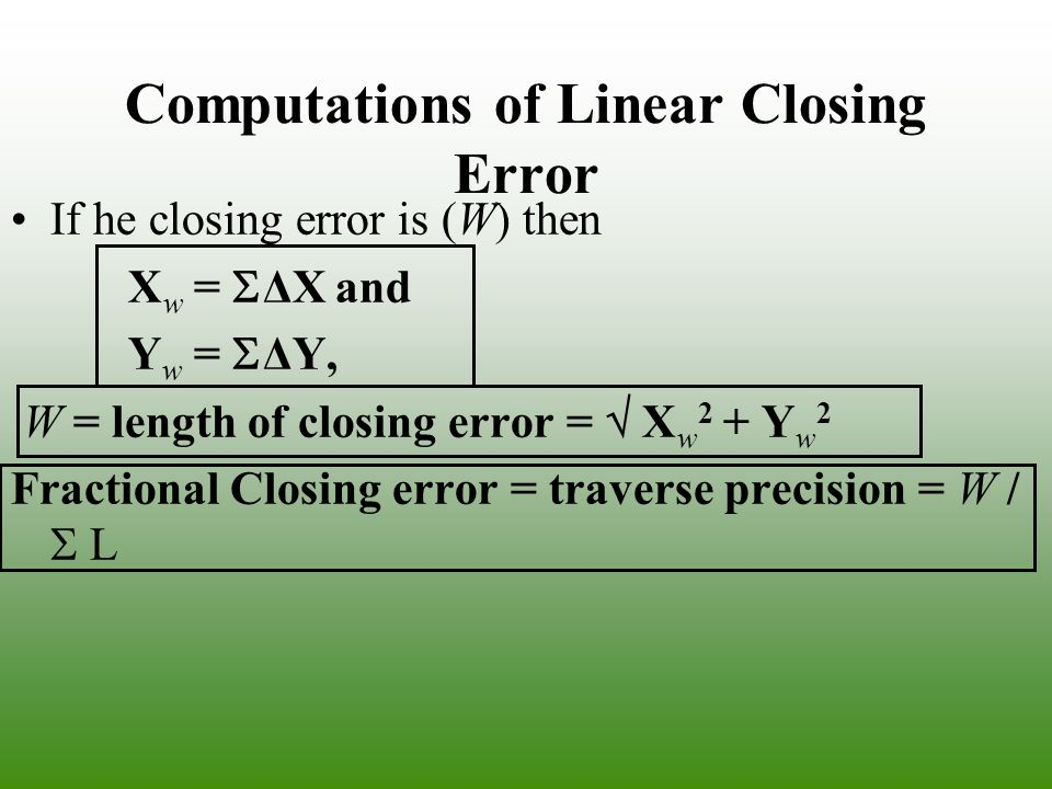 Computations of Linear Closing Error