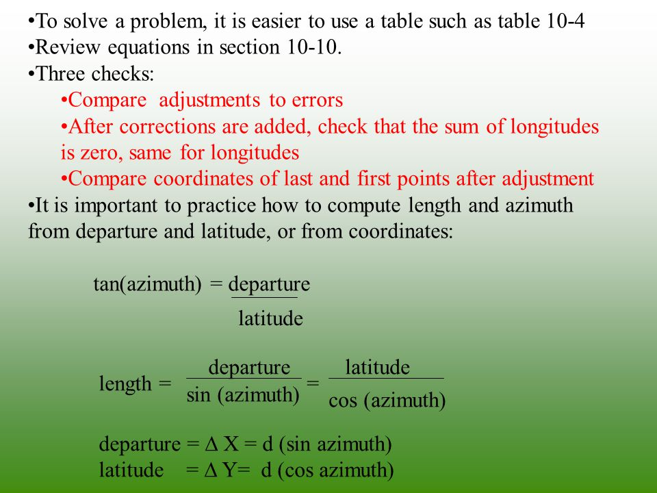 To solve a problem, it is easier to use a table such as table 10-4