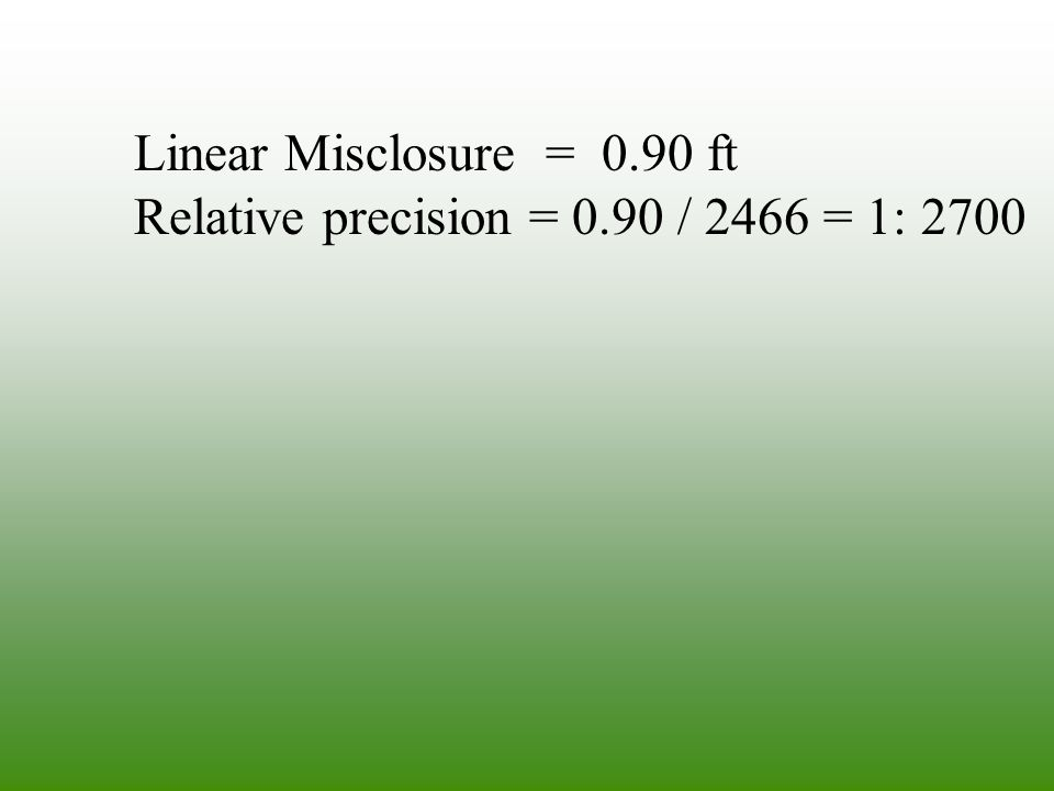 Linear Misclosure = 0.90 ft Relative precision = 0.90 / 2466 = 1: 2700