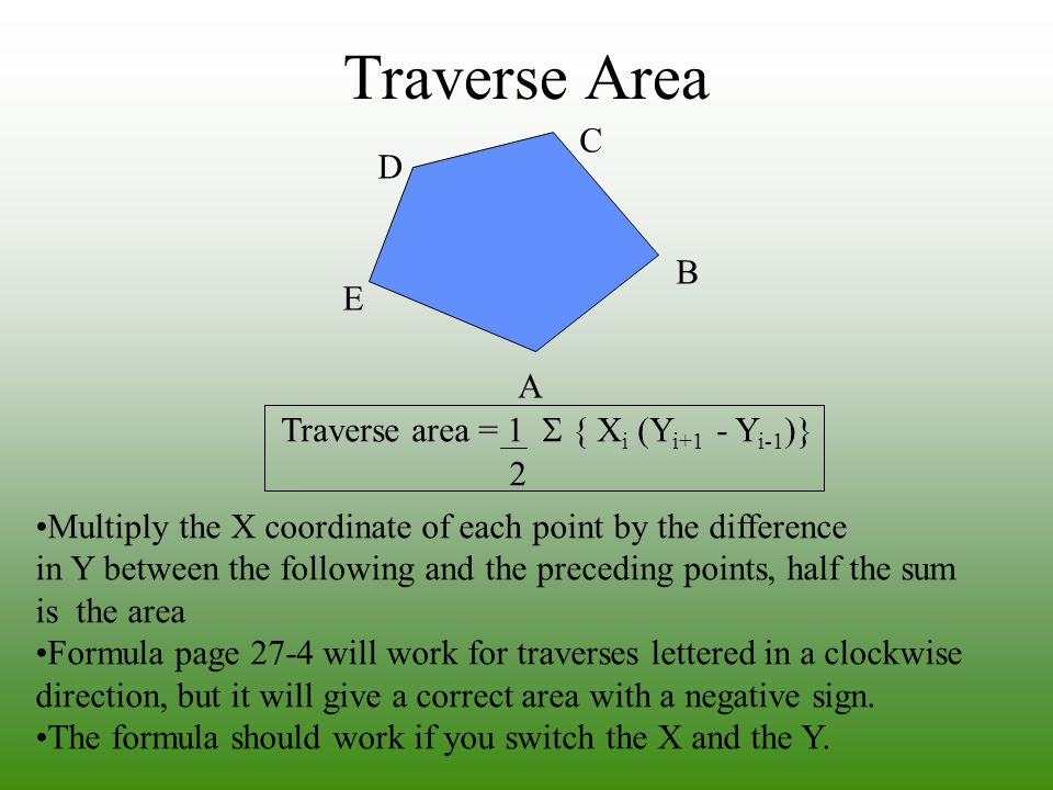 Traverse Area C D B E A Traverse area = 1 S { Xi (Yi+1 - Yi-1)} 2