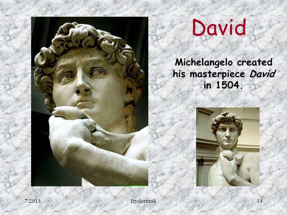 Michelangelo created his masterpiece David in 1504.