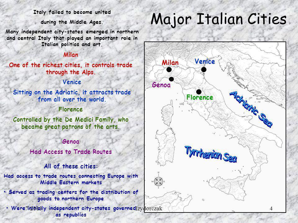 Major Italian Cities Adriatic Sea Tyrrhenian Sea Venice Milan Genoa