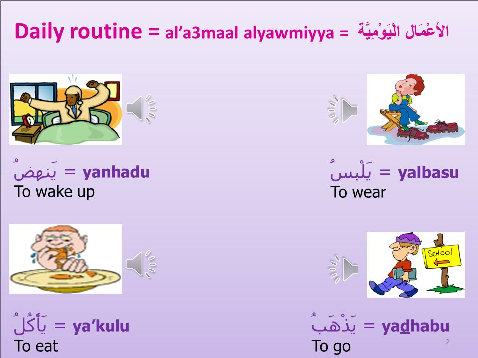 يَرْجِعُ= Yarje3u يَنَامُ= yanaamu To return To paly