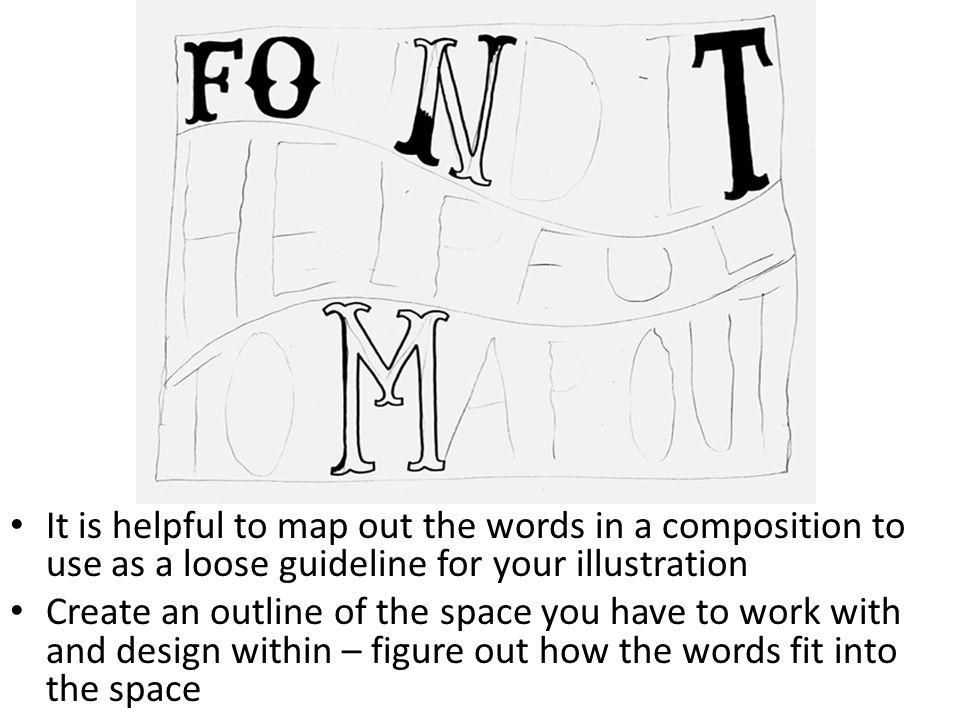 It is helpful to map out the words in a composition to use as a loose guideline for your illustration