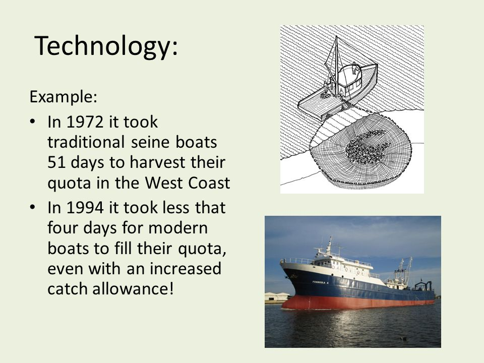 Technology: Example: In 1972 it took traditional seine boats 51 days to harvest their quota in the West Coast.