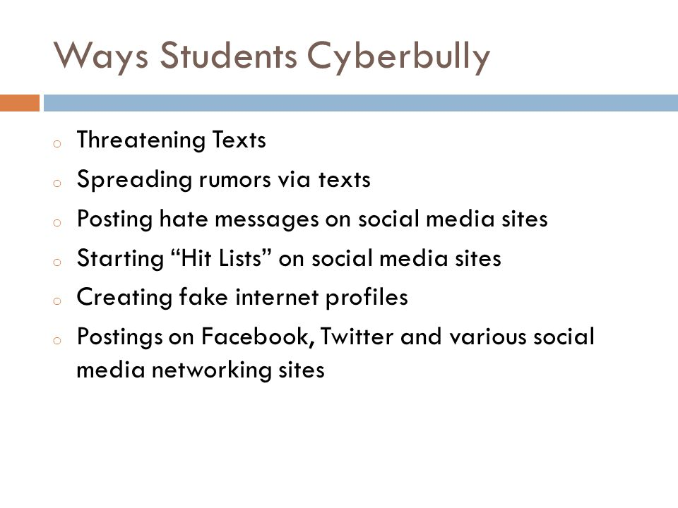 Ways Students Cyberbully