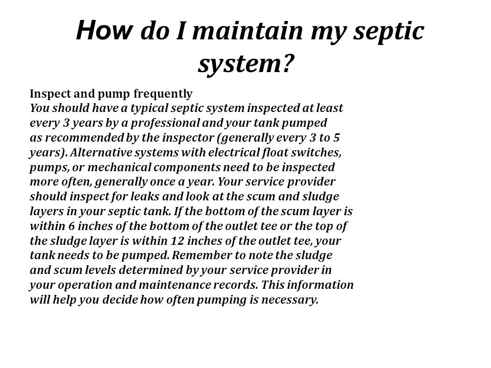How do I maintain my septic system