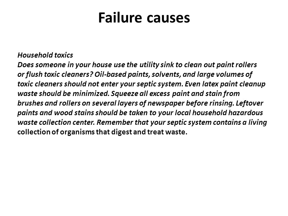 Failure causes Household toxics