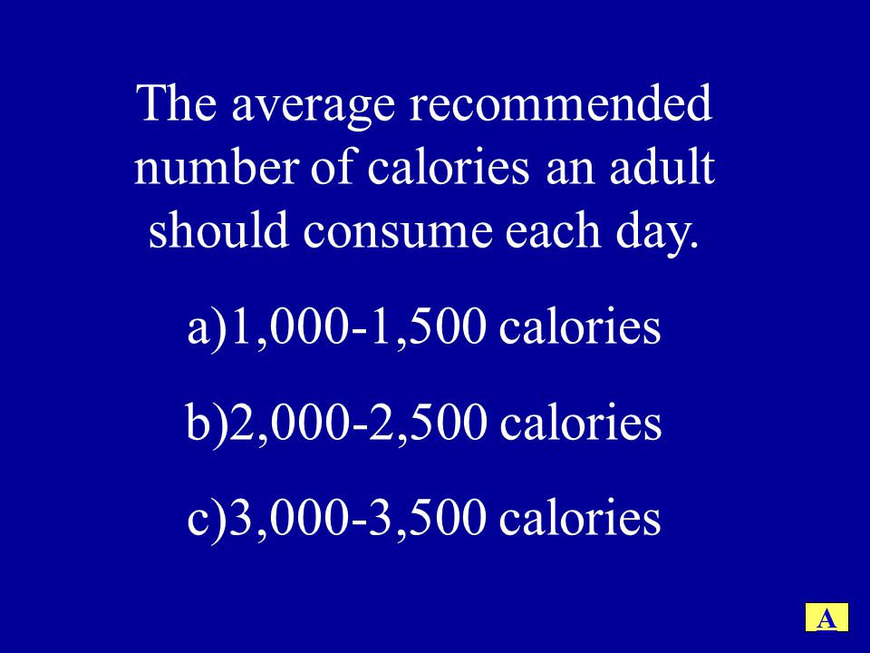 The average recommended number of calories an adult should consume each day.