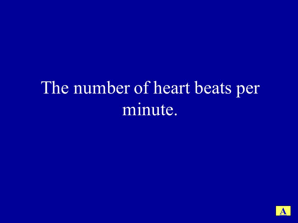 The number of heart beats per minute.