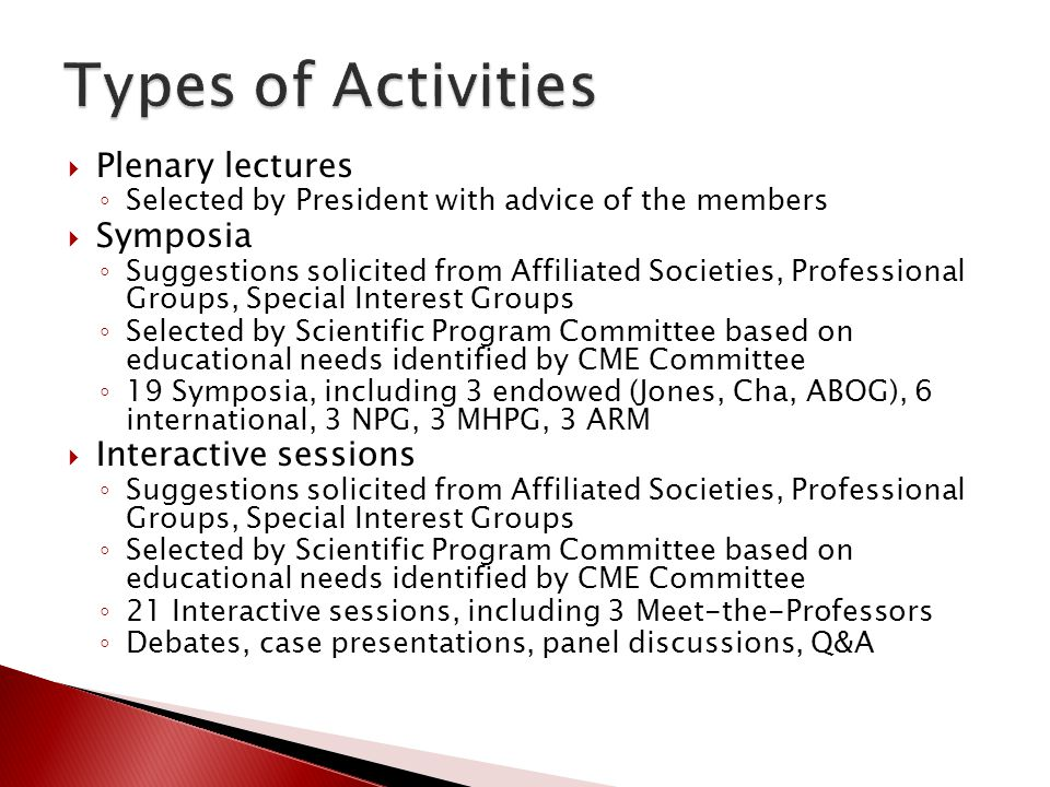 Types of Activities Plenary lectures Symposia Interactive sessions