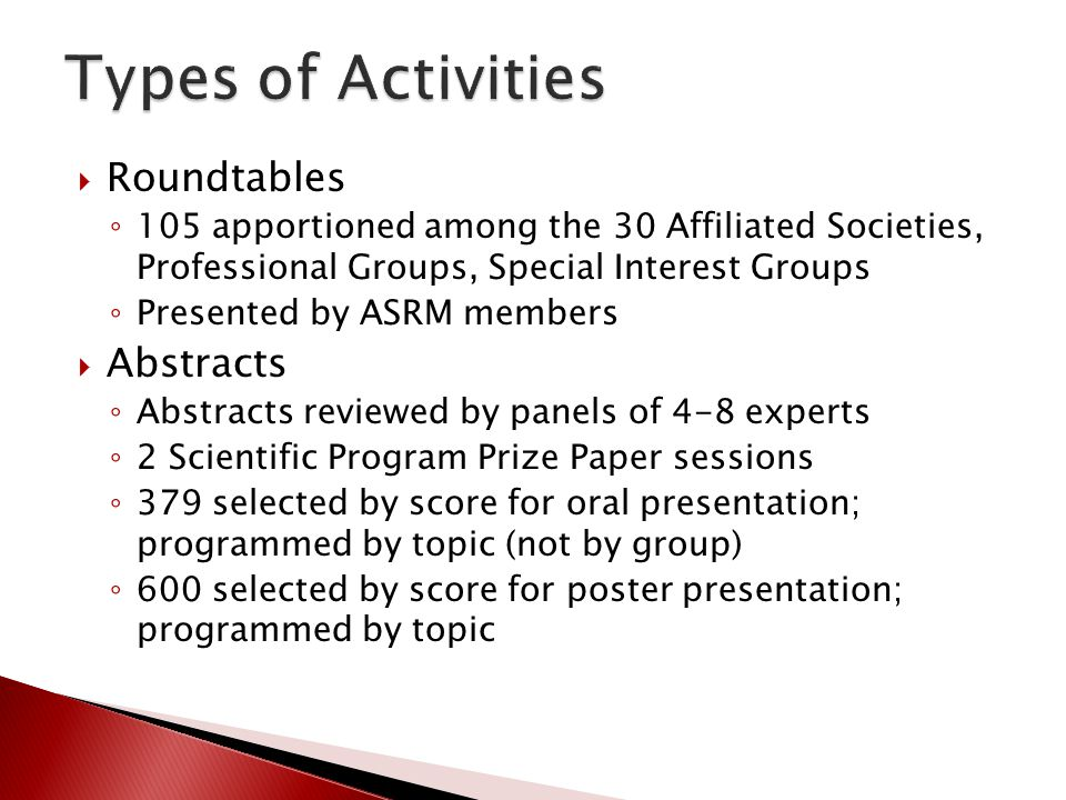 Types of Activities Roundtables Abstracts