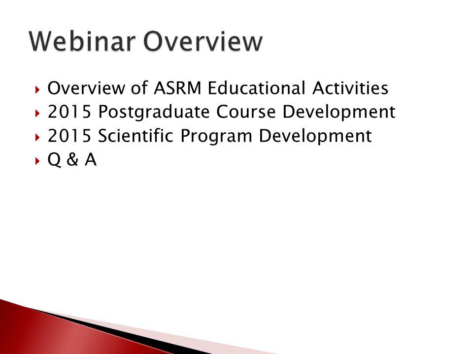 Webinar Overview Overview of ASRM Educational Activities
