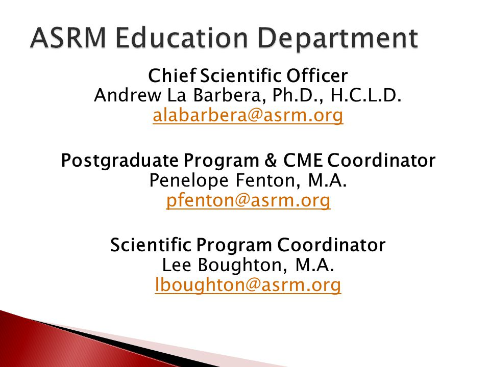 ASRM Education Department