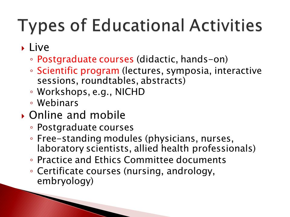 Types of Educational Activities