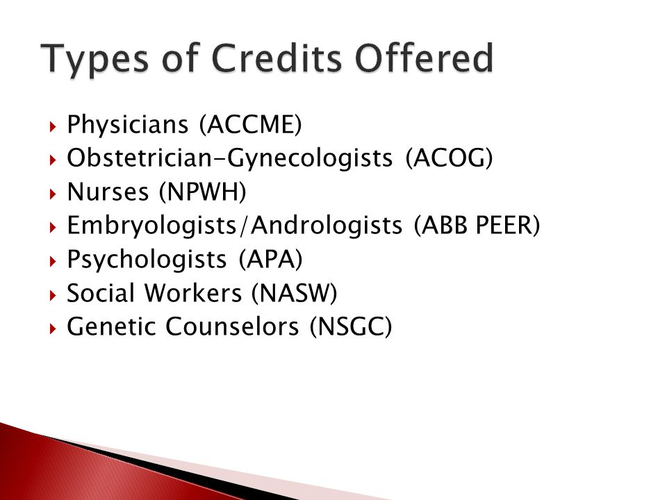 Types of Credits Offered