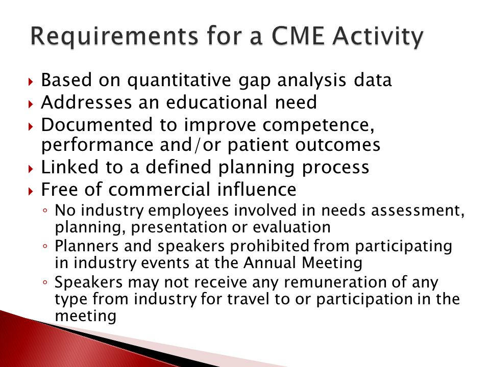 Requirements for a CME Activity