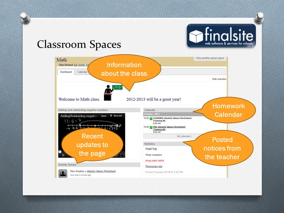Classroom Spaces Information about the class Homework Calendar