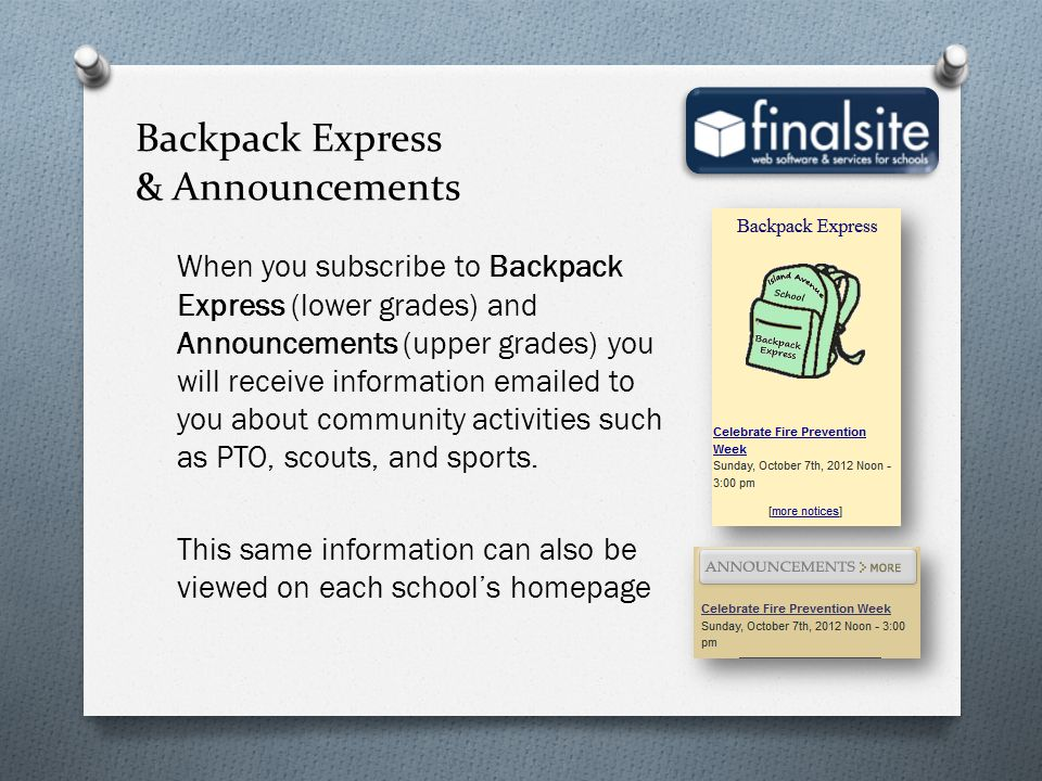 Backpack Express & Announcements