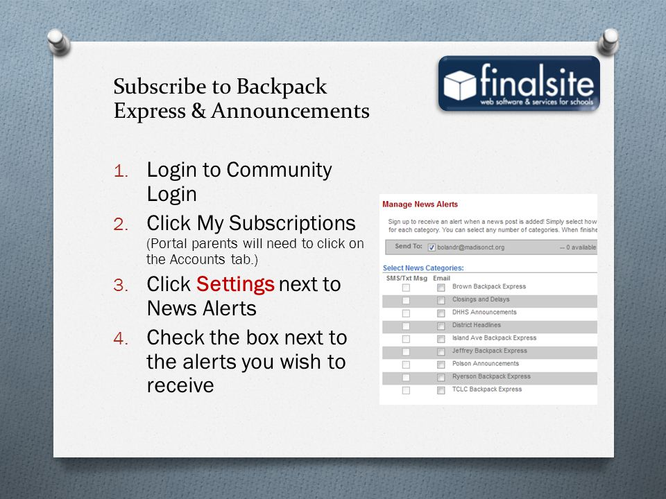 Subscribe to Backpack Express & Announcements