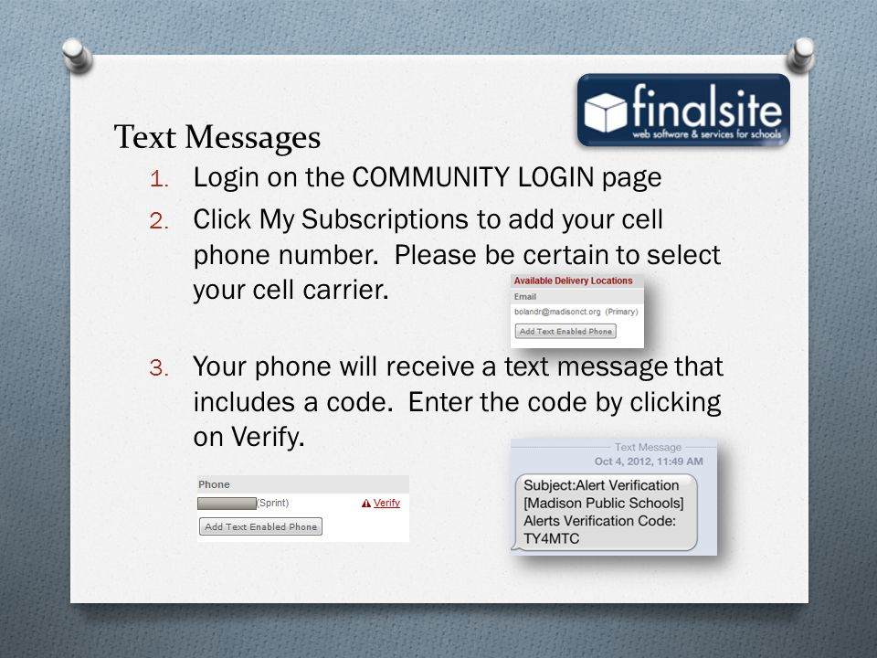 Text Messages Login on the COMMUNITY LOGIN page