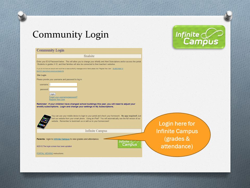 Login here for Infinite Campus (grades & attendance)