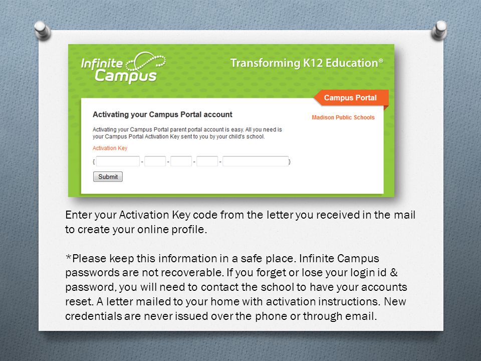 Enter your Activation Key code from the letter you received in the mail to create your online profile.