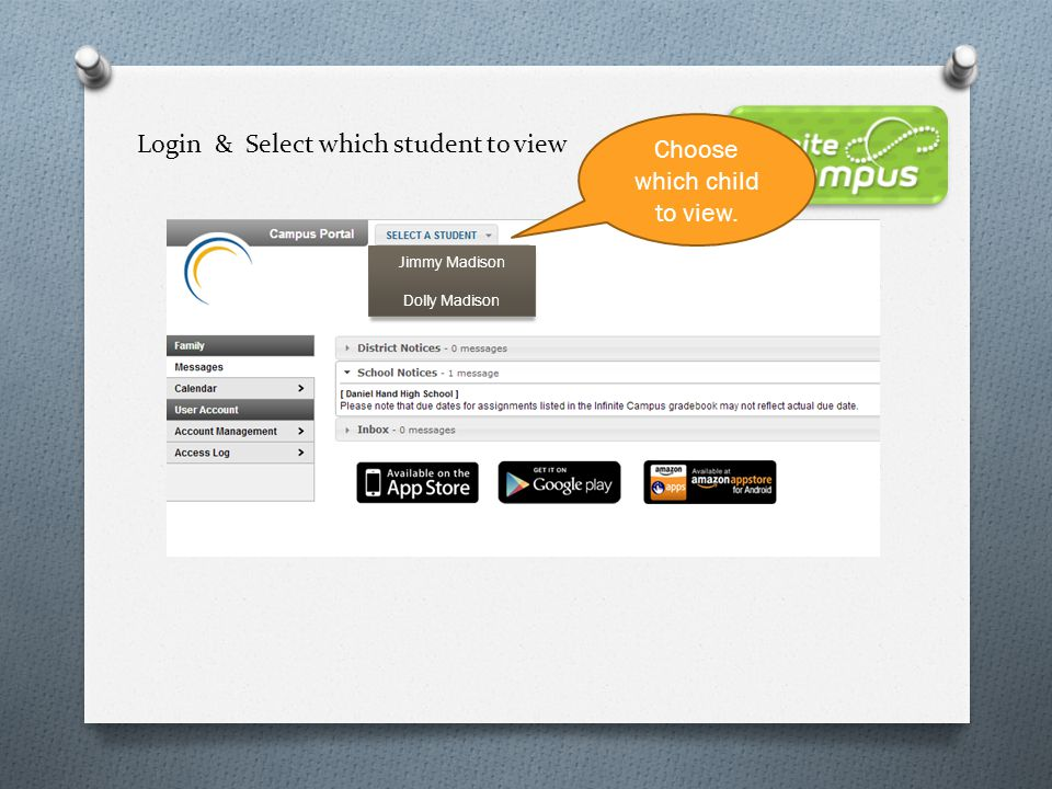 Login & Select which student to view