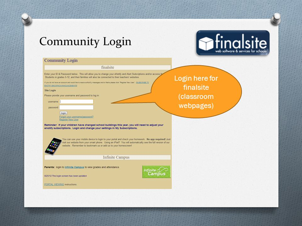Login here for finalsite (classroom webpages)