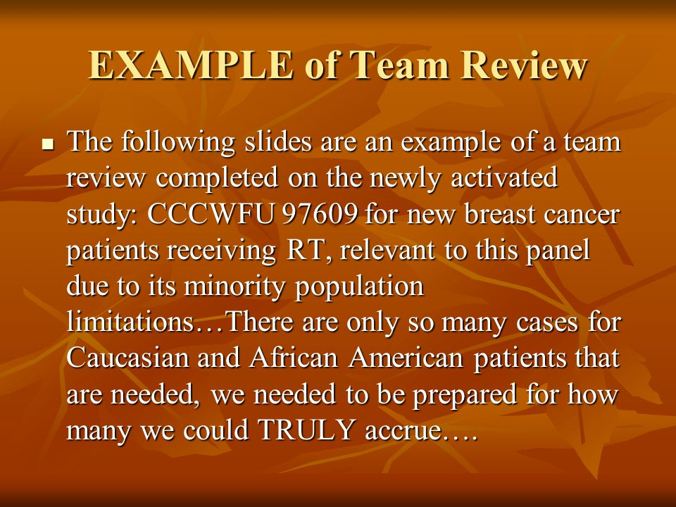 EXAMPLE of Team Review
