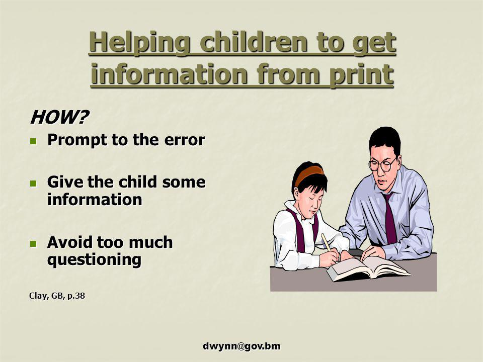 Helping children to get information from print