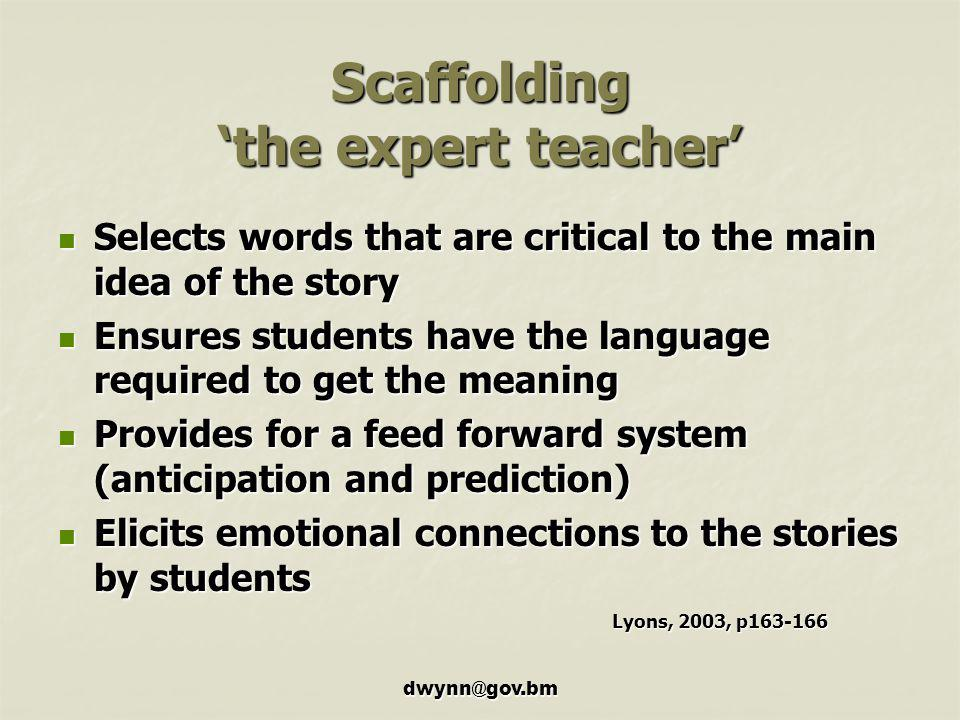 Scaffolding 'the expert teacher'