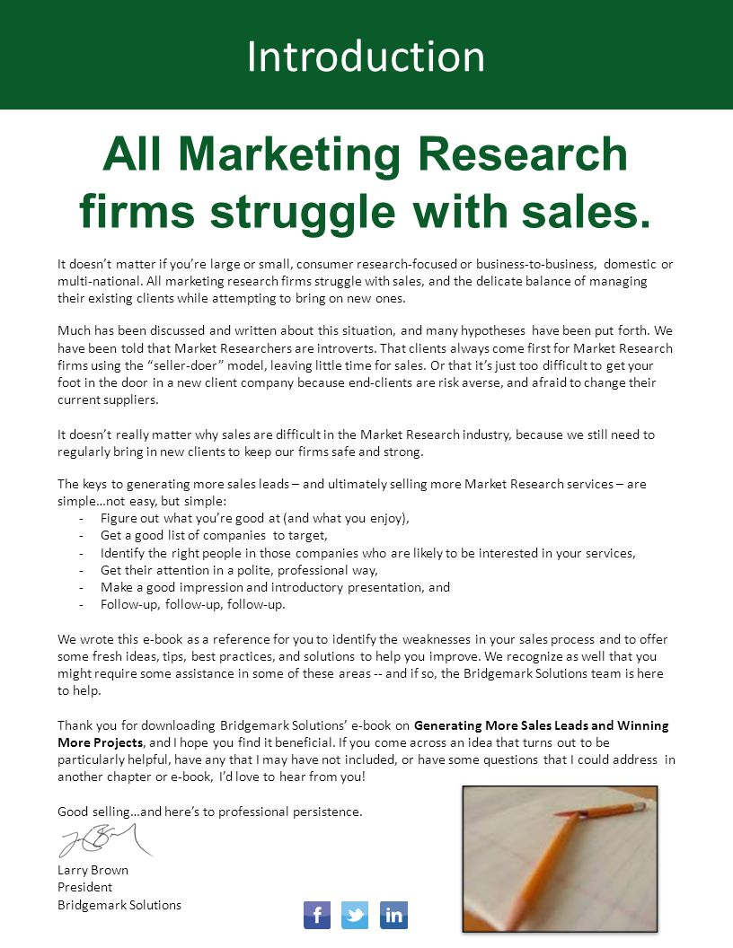 All Marketing Research firms struggle with sales.
