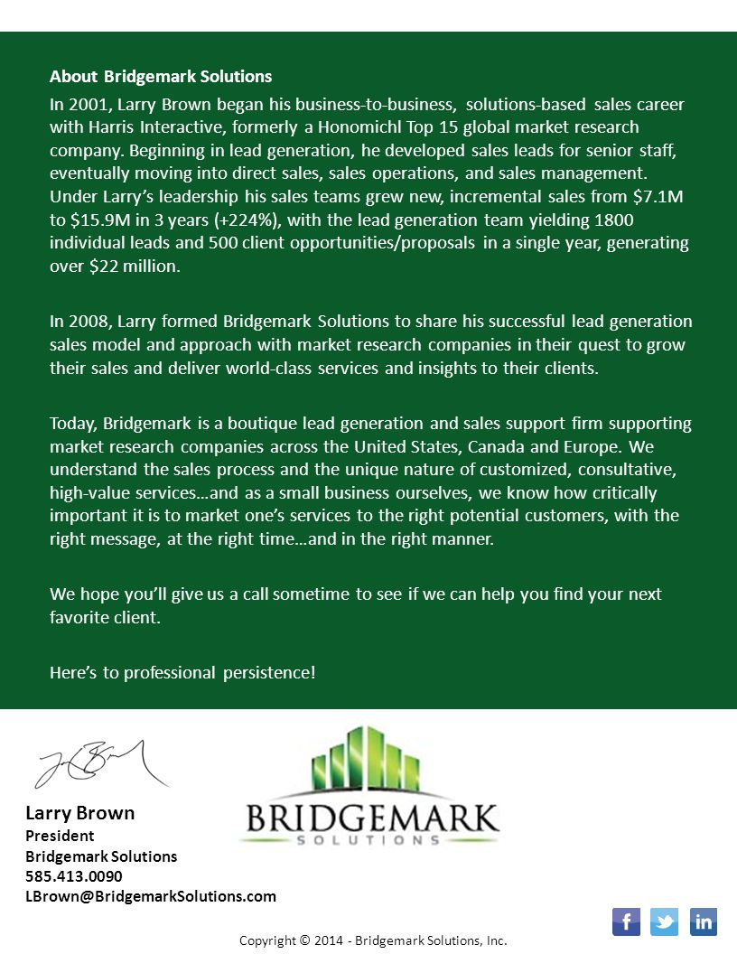 SIGN UP Larry Brown About Bridgemark Solutions