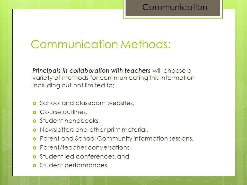 Communication Methods: