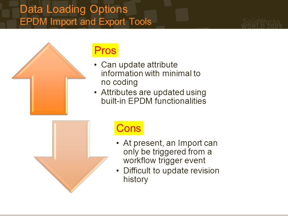 Data Loading Options EPDM Import and Export Tools