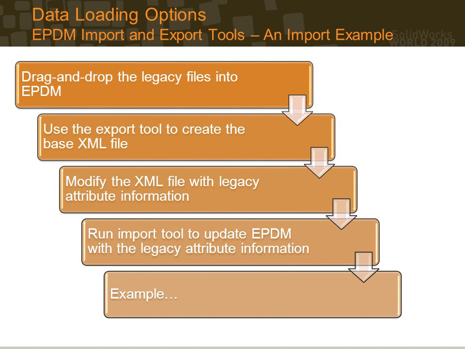 Data Loading Options EPDM Import and Export Tools – An Import Example