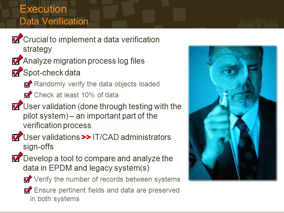 Execution Data Verification
