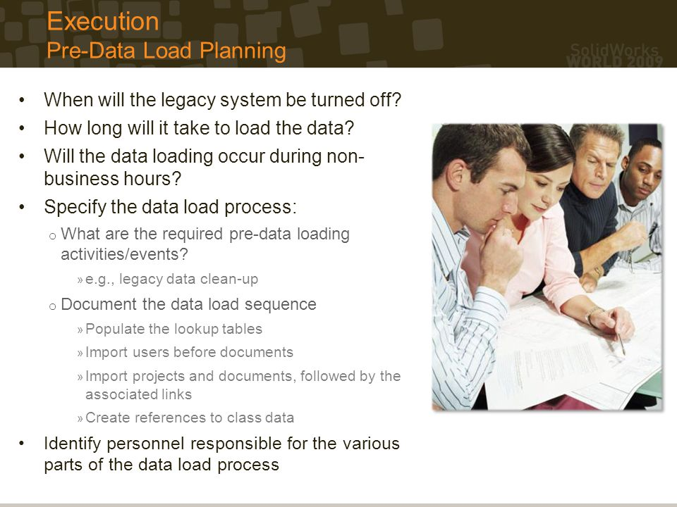 Execution Pre-Data Load Planning