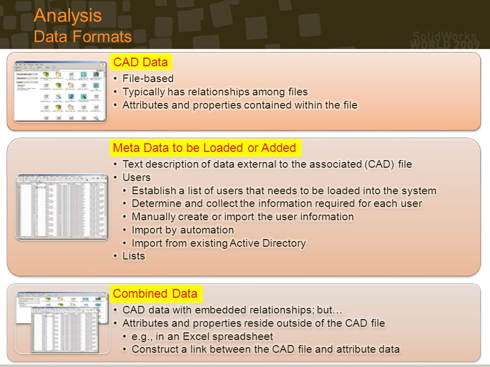 Analysis Data Formats CAD Data CAD Data