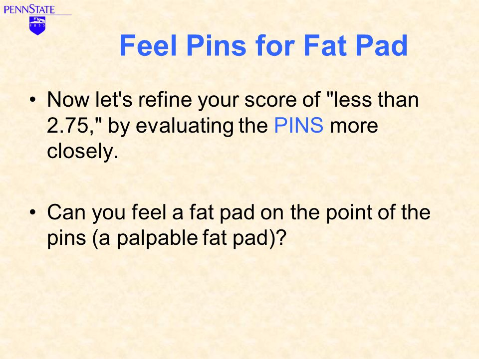 Feel Pins for Fat Pad Now let s refine your score of less than 2.75, by evaluating the PINS more closely.