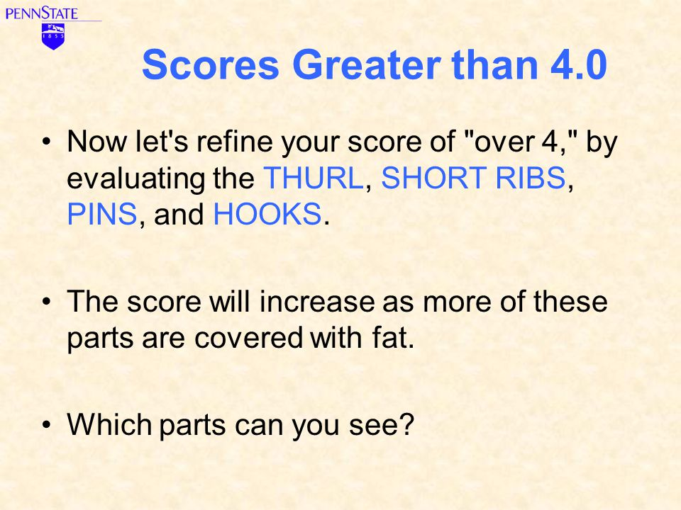 Scores Greater than 4.0 Now let s refine your score of over 4, by evaluating the THURL, SHORT RIBS, PINS, and HOOKS.