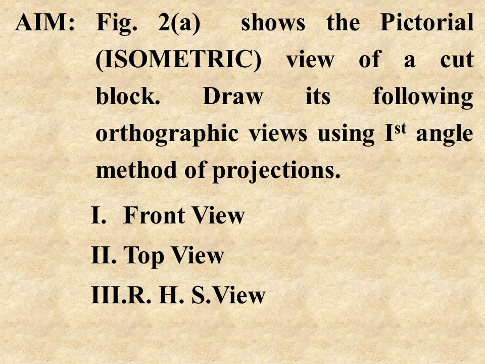 AIM: Fig. 2(a) shows the Pictorial (ISOMETRIC) view of a cut block